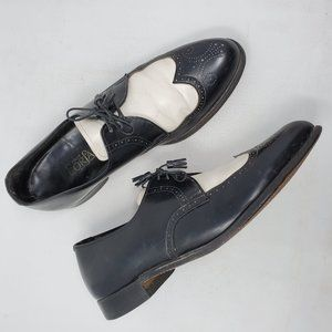 Mens Vintage Black & White Wingtip Oxfords 10.5